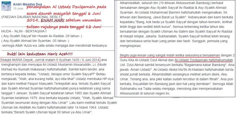 penampakan Al ustadz Dzulqarnain pertanggal 6 Juni dalam acara mereka sebagaimana yang diposting beritanya oleh Andri Maadsa Bandung