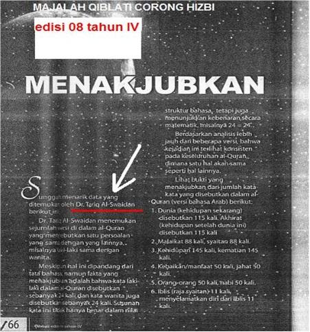 Scan Majalah Qiblati mengelu-elukan tulisan seorang DAJJAL Hizbi