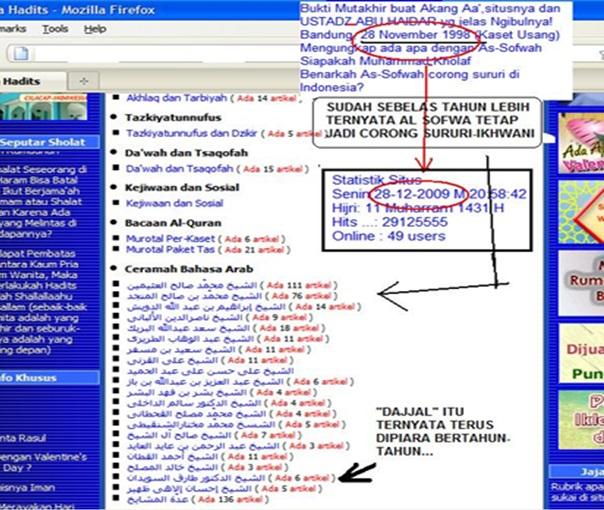 Screenshot bukti Al Sofwa bertabur gembong-gembong Hizbi Sururi Internasional