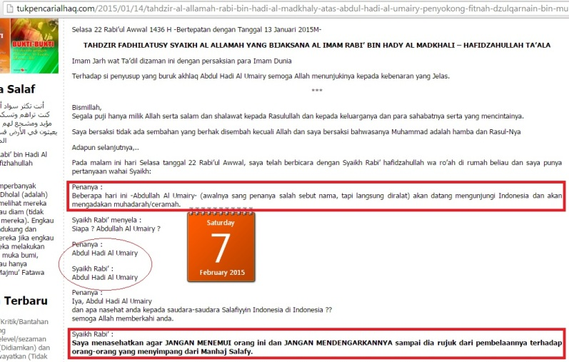Nasehat Asy Syaikh Rabi', mentahdzir Abdul Hadi Umairi dan tidak menghadiri daurahnya