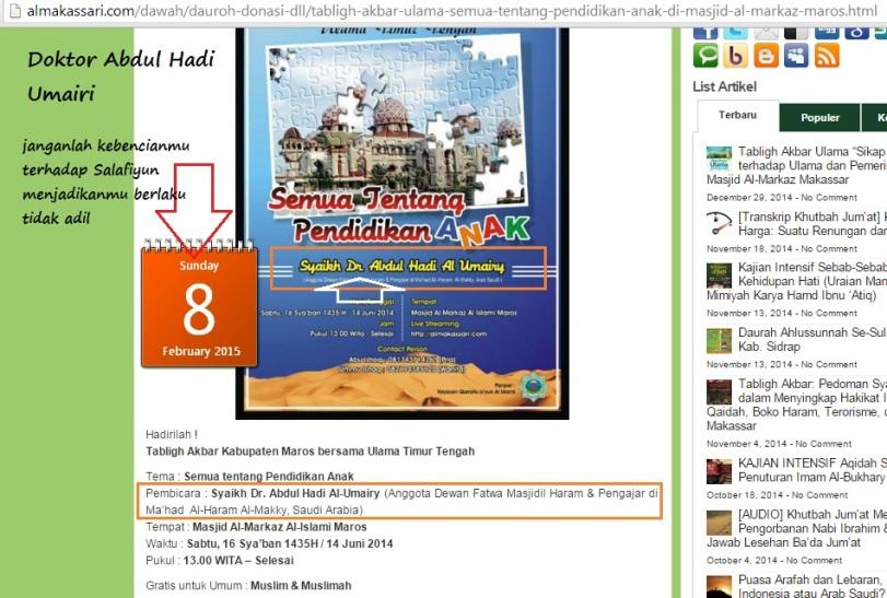 Owh ternyata corong fitnah Hajuriyah tersebut adalah corong dakwahnya Doktor Abdul Hadi Umairi sendiri !!!