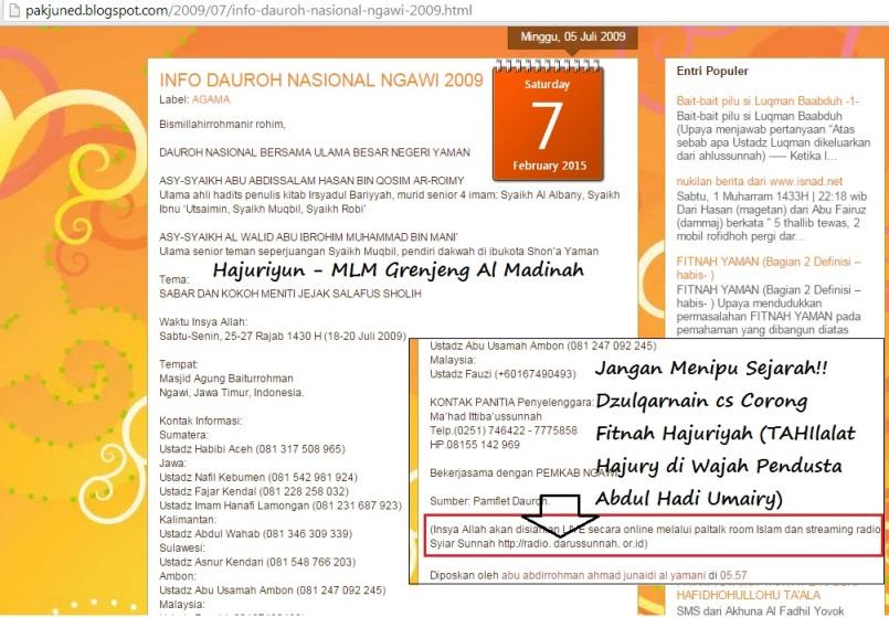 Radio Munajat Corong fitnah Hajuriyah