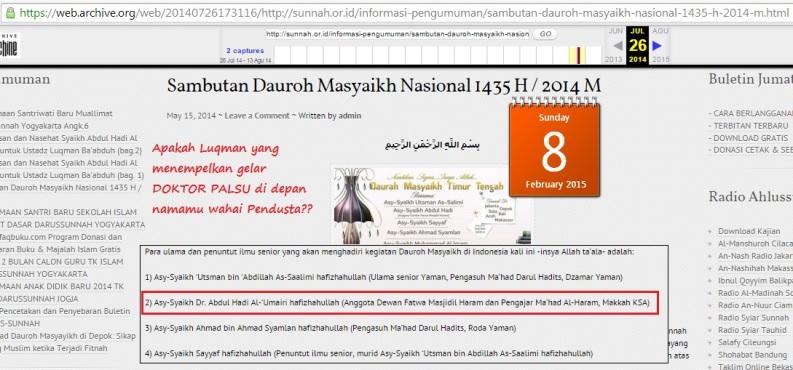 Situs Munajat. Owh ternyata di wajah corong fitnah Doktor Abdul Hadi Umairi sendiri