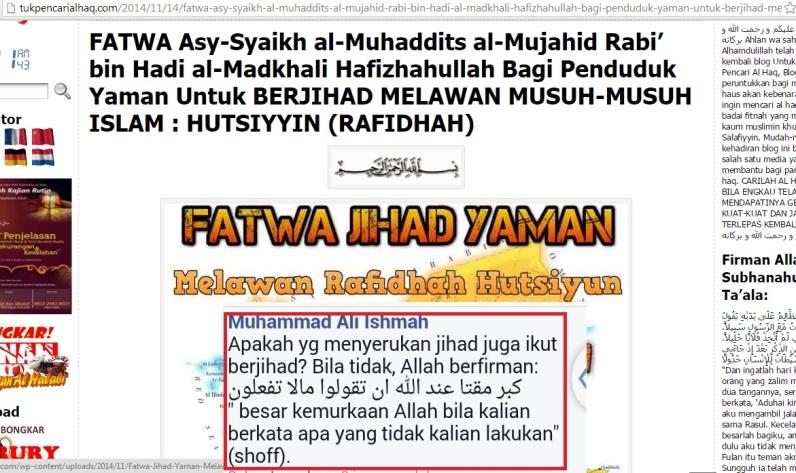 Terus melancarkan makar syubhat menggembosi jihad dengan berbagai cara