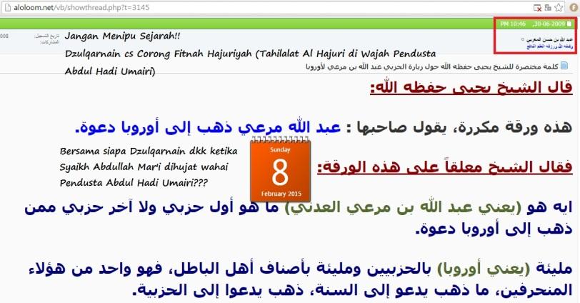 Vonis Hajuri, Syaikh Abdullah Mar'i berdakwah ke jalan hizbiyah. Dimana dan bersama siapa Dzulqarnain dan para pengikutnya