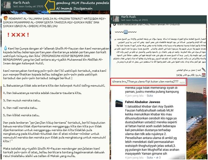 """Watsiqah Lovers merayakan """"kemenangan"""" perjuangan As Salimi  dkk atas  Al Imam di hadapan Syaikh Fauzan"""