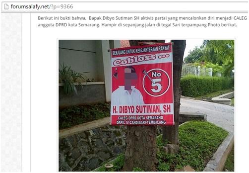 Nampak pamflet kampanye Bapak H. Dibyo Sutiman