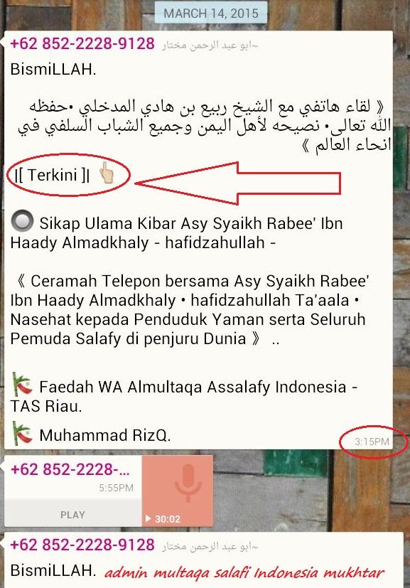 Abu Abdurrahman Mukhtar admin Multaqa Cabang Indonesia resmi memposting audi rekayasa JADID