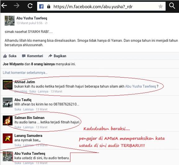 Audio Syaikh Rabi diyakinkan oleh Ustadz MLM di AMWA bahwa itu audio TERBARU