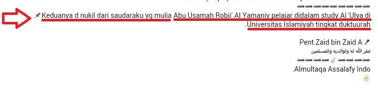 di nukil dari Abu Usamah Robii' al Yamani