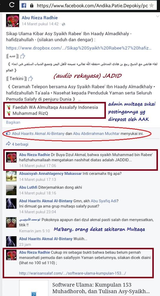Nampak trio Multaqa AsSalafy Indonesia saling menyokong makar terbaru