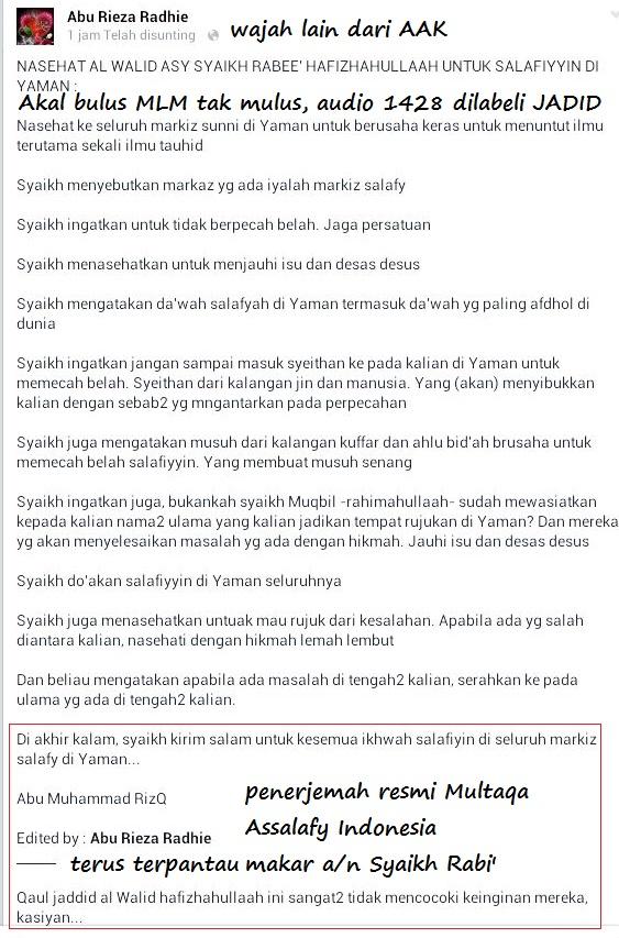 Penerjemah resmi Multaqa Assalafy Cabang Indonesia dan tazkiyah
