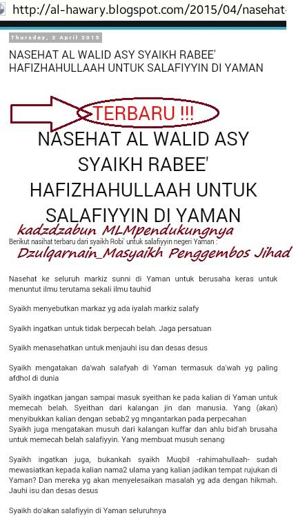 Situs khabits MLM corong pembela Masyaikh Yaman dan pembela Dzulqarnain pun turut bertempik sorak