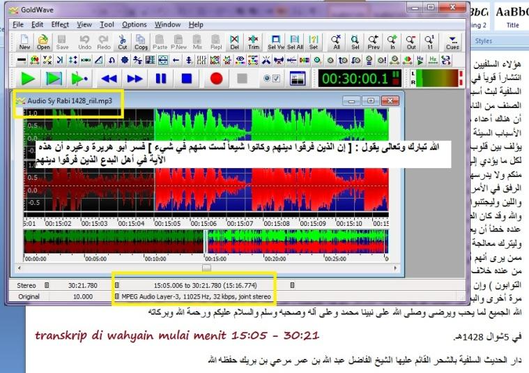Transkripnya pada file master audionya 1428 H bisa didengarkan